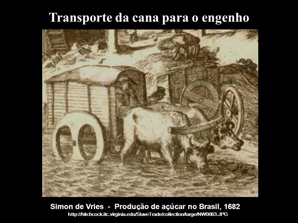 Simon de Vries - Produção de açúcar no Brasil, 1682 http://hitchcock.itc.virginia.edu/SlaveTrade/collection/large/NW0063.JPG Transporte da cana para o