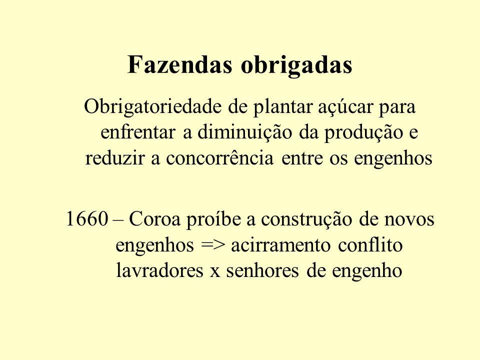 Fazendas obrigadas Obrigatoriedade de plantar açúcar para enfrentar a diminuição da produção e reduzir a concorrência entre os engenhos 1660 – Coroa p