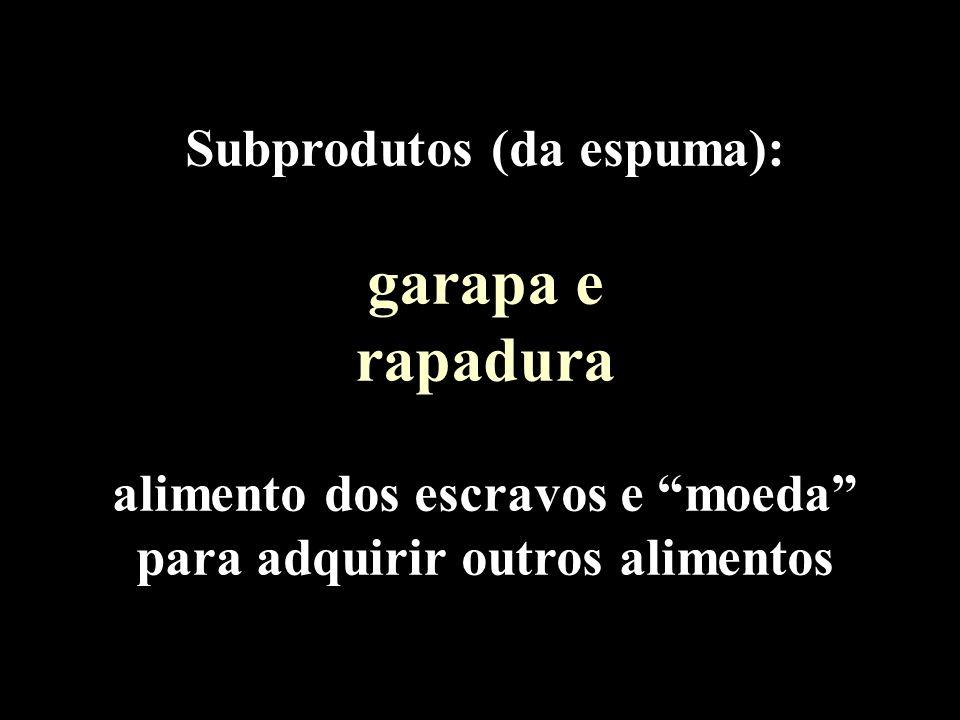Subprodutos (da espuma): garapa e rapadura alimento dos escravos e moeda para adquirir outros alimentos