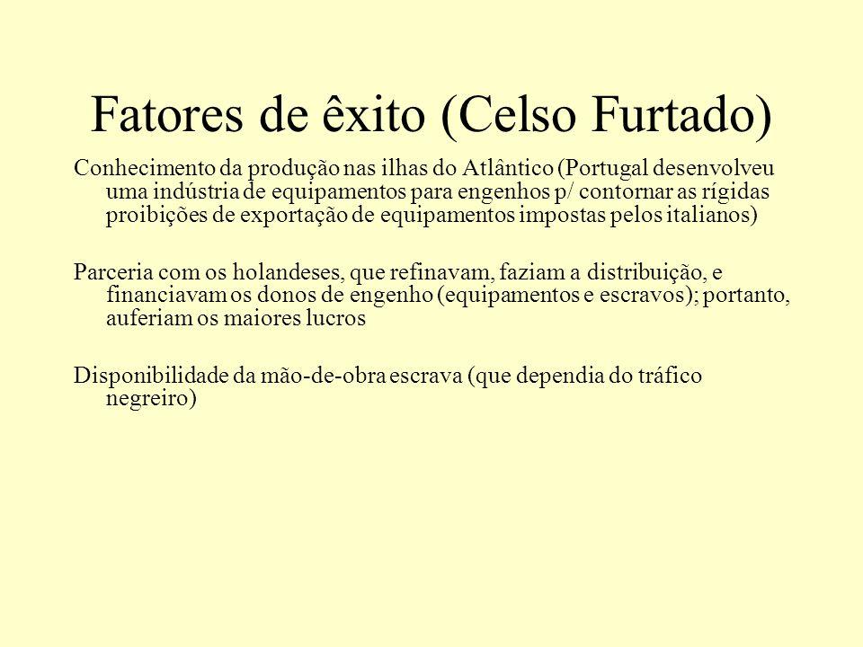 Fatores de êxito (Celso Furtado) Conhecimento da produção nas ilhas do Atlântico (Portugal desenvolveu uma indústria de equipamentos para engenhos p/