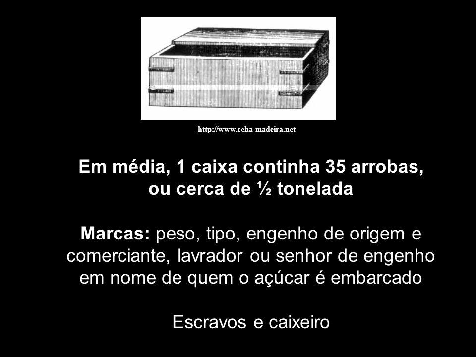 http://www.ceha-madeira.net Em média, 1 caixa continha 35 arrobas, ou cerca de ½ tonelada Marcas: peso, tipo, engenho de origem e comerciante, lavrado