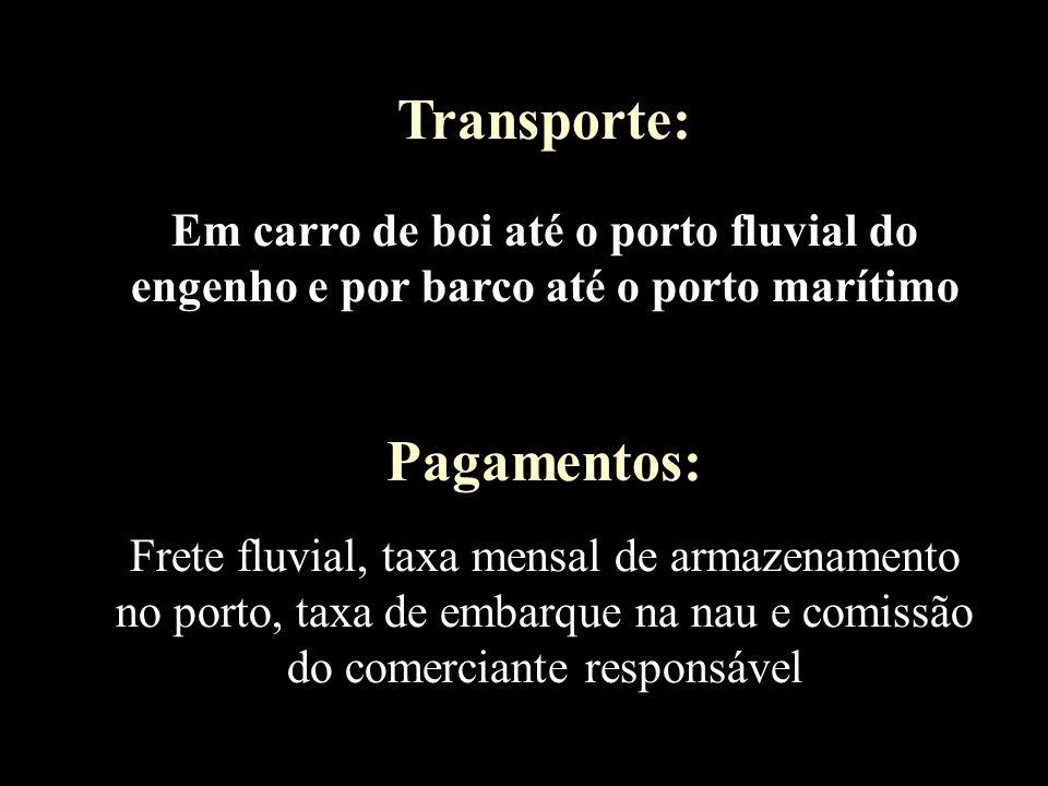 Transporte: Em carro de boi até o porto fluvial do engenho e por barco até o porto marítimo Pagamentos: Frete fluvial, taxa mensal de armazenamento no