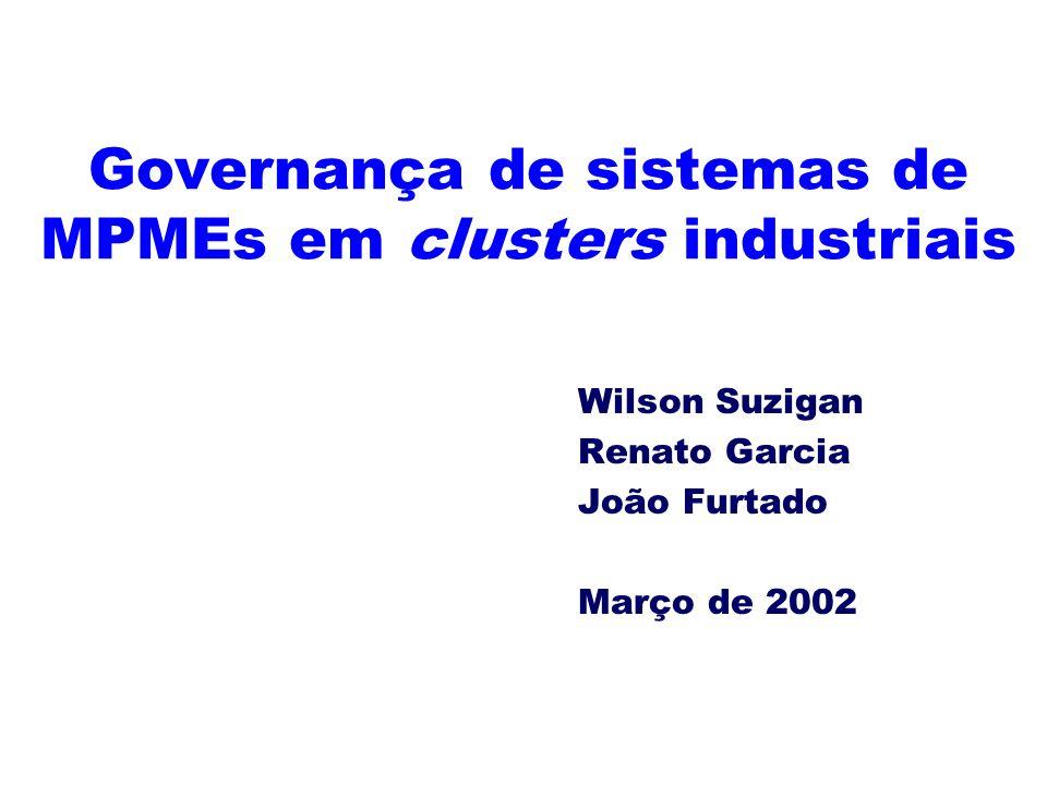 Governança de sistemas de MPMEs em clusters industriais Wilson Suzigan Renato Garcia João Furtado Março de 2002