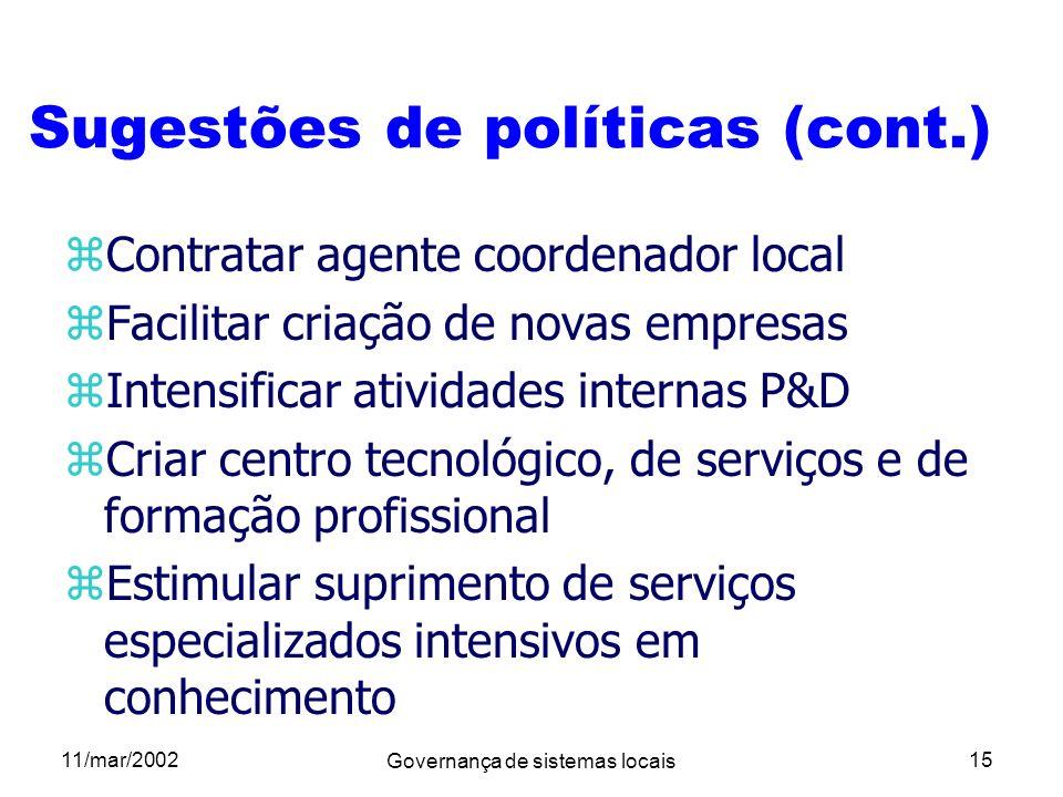 11/mar/2002 Governança de sistemas locais 15 Sugestões de políticas (cont.) zContratar agente coordenador local zFacilitar criação de novas empresas z