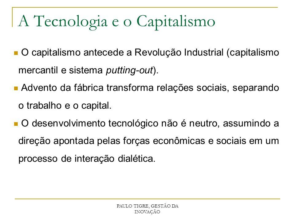 PAULO TIGRE, GESTÃO DA INOVAÇÃO A Tecnologia e o Capitalismo O capitalismo antecede a Revolução Industrial (capitalismo mercantil e sistema putting-ou