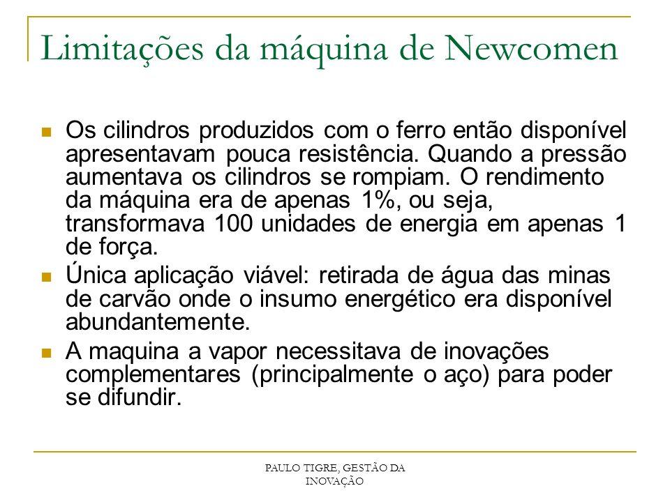 PAULO TIGRE, GESTÃO DA INOVAÇÃO Limitações da máquina de Newcomen Os cilindros produzidos com o ferro então disponível apresentavam pouca resistência.