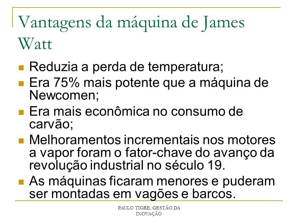 PAULO TIGRE, GESTÃO DA INOVAÇÃO Vantagens da máquina de James Watt Reduzia a perda de temperatura; Era 75% mais potente que a máquina de Newcomen; Era