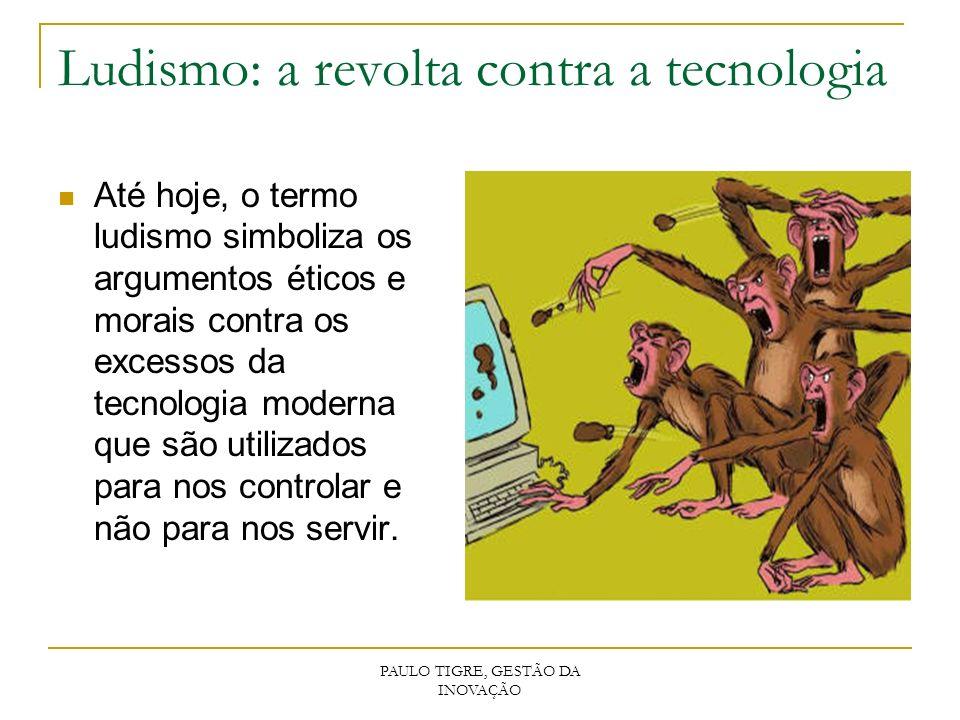 PAULO TIGRE, GESTÃO DA INOVAÇÃO Ludismo: a revolta contra a tecnologia Até hoje, o termo ludismo simboliza os argumentos éticos e morais contra os exc