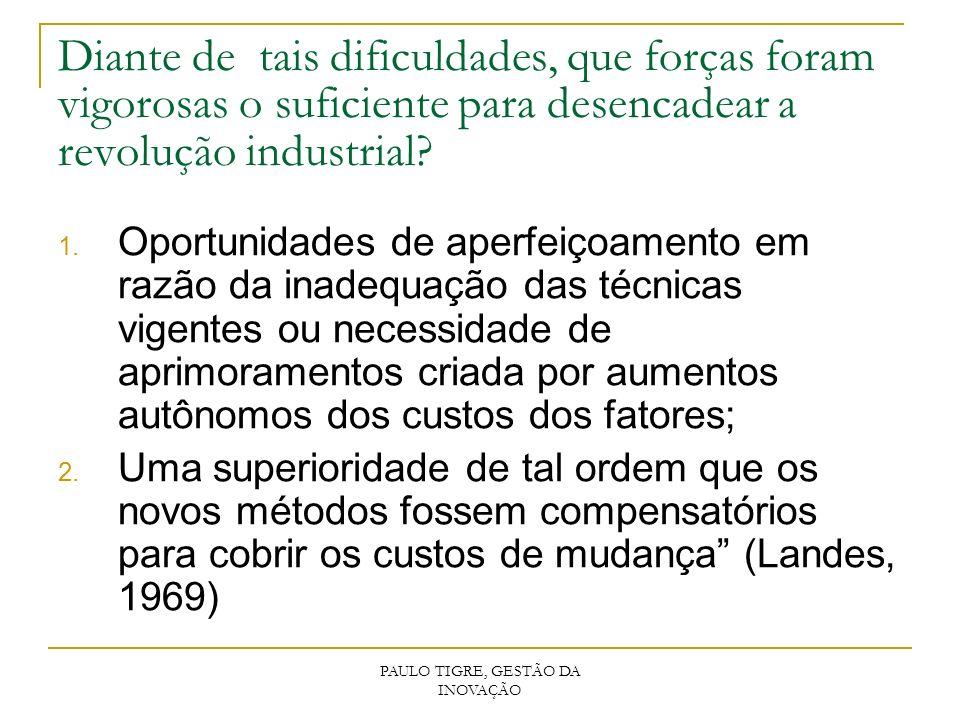 PAULO TIGRE, GESTÃO DA INOVAÇÃO Diante de tais dificuldades, que forças foram vigorosas o suficiente para desencadear a revolução industrial? 1. Oport