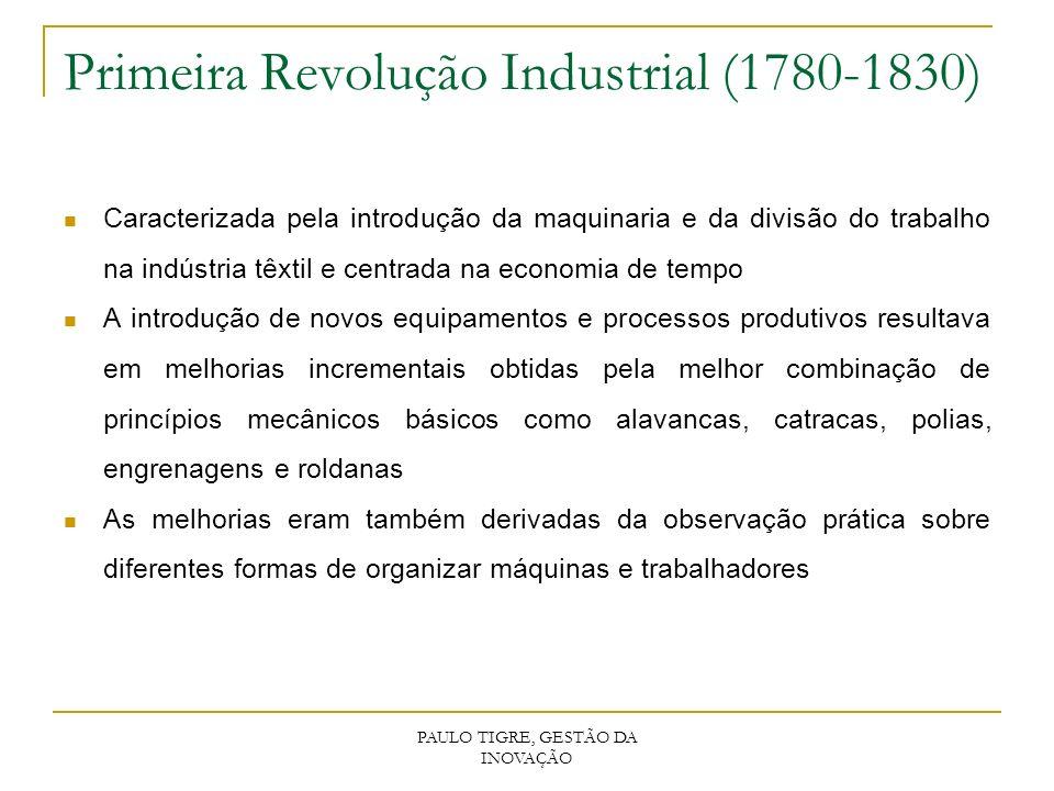 PAULO TIGRE, GESTÃO DA INOVAÇÃO Primeira Revolução Industrial (1780-1830) Caracterizada pela introdução da maquinaria e da divisão do trabalho na indú