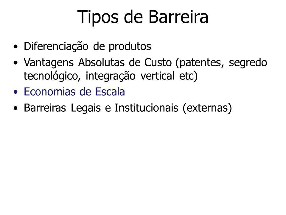 Tipos de Barreira Diferenciação de produtos Vantagens Absolutas de Custo (patentes, segredo tecnológico, integração vertical etc) Economias de Escala