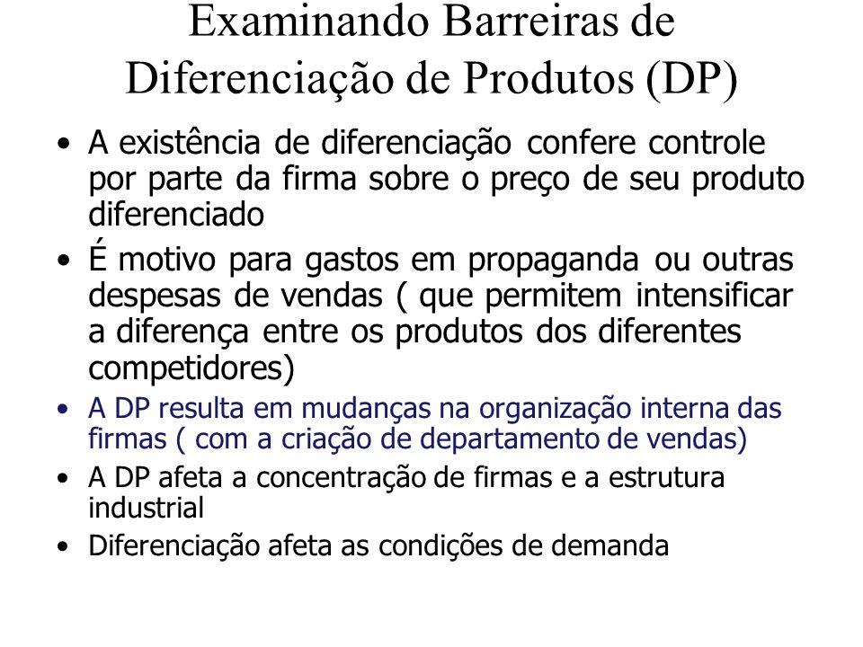 Examinando Barreiras de Diferenciação de Produtos (DP) A existência de diferenciação confere controle por parte da firma sobre o preço de seu produto