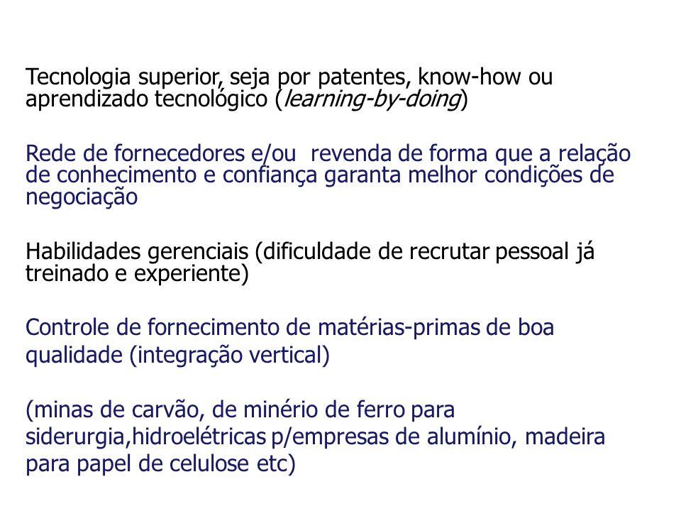 Tecnologia superior, seja por patentes, know-how ou aprendizado tecnológico (learning-by-doing) Rede de fornecedores e/ou revenda de forma que a relaç