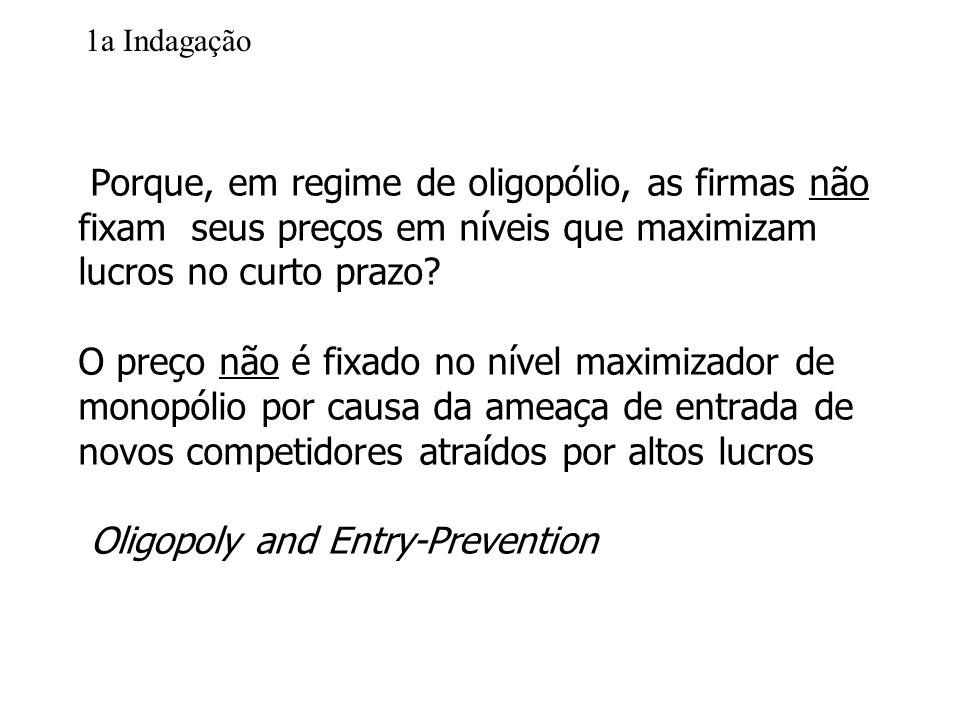 Porque, em regime de oligopólio, as firmas não fixam seus preços em níveis que maximizam lucros no curto prazo? O preço não é fixado no nível maximiza