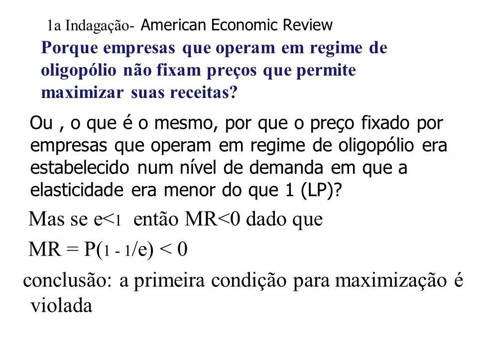 1a Indagação- American Economic Review Porque empresas que operam em regime de oligopólio não fixam preços que permite maximizar suas receitas? Ou, o