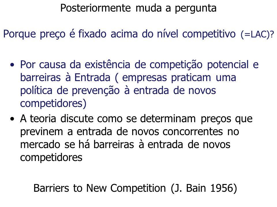 Posteriormente muda a pergunta Porque preço é fixado acima do nível competitivo (=LAC)? Por causa da existência de competição potencial e barreiras à