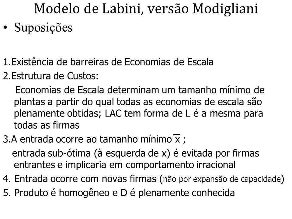 Modelo de Labini, versão Modigliani Suposições 1.Existência de barreiras de Economias de Escala 2.Estrutura de Custos: Economias de Escala determinam