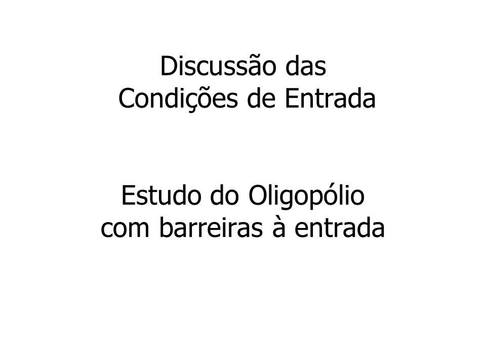 Discussão das Condições de Entrada Estudo do Oligopólio com barreiras à entrada
