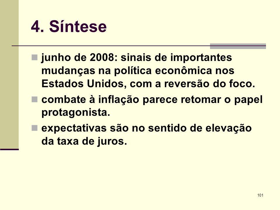 101 4. Síntese junho de 2008: sinais de importantes mudanças na política econômica nos Estados Unidos, com a reversão do foco. combate à inflação pare