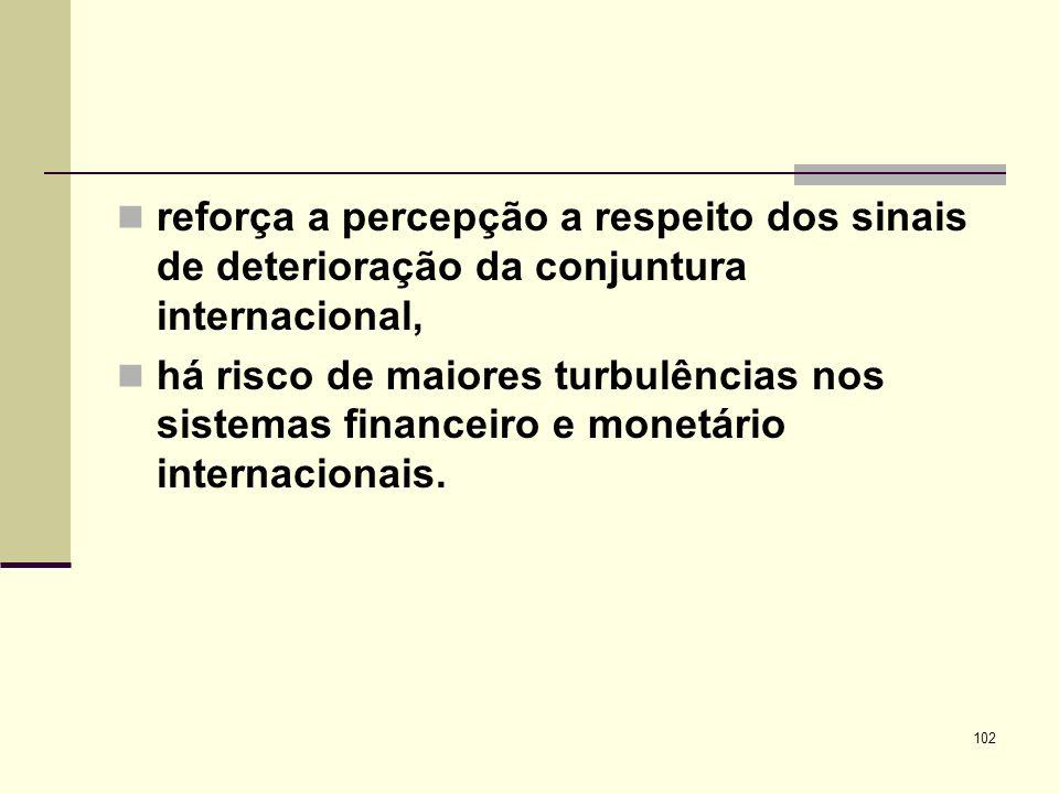 102 reforça a percepção a respeito dos sinais de deterioração da conjuntura internacional, há risco de maiores turbulências nos sistemas financeiro e