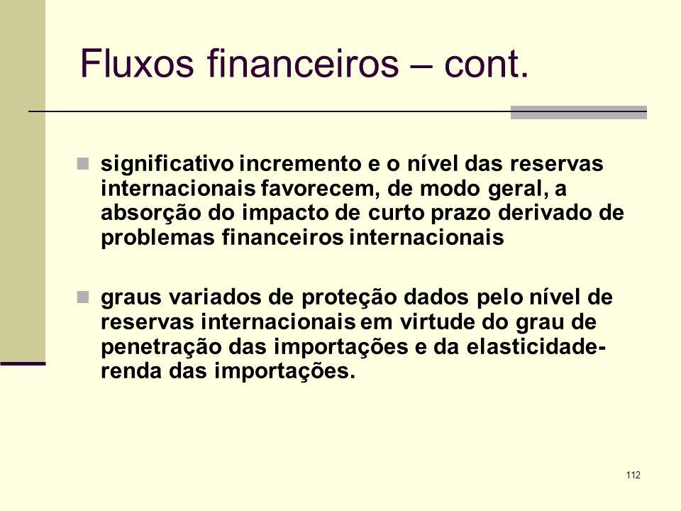 112 Fluxos financeiros – cont. significativo incremento e o nível das reservas internacionais favorecem, de modo geral, a absorção do impacto de curto