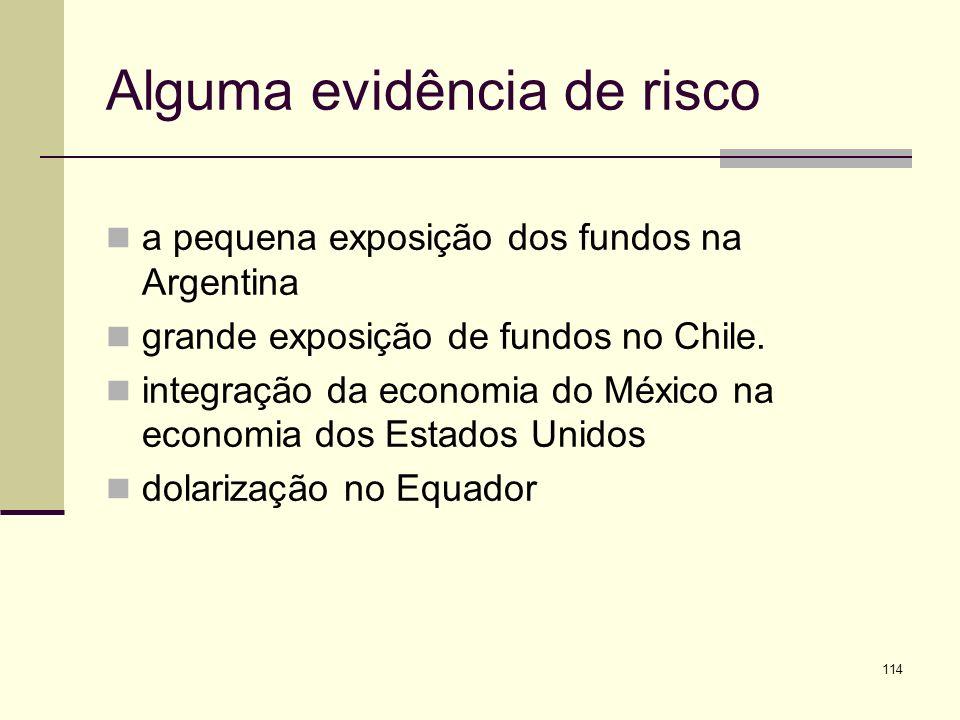 114 Alguma evidência de risco a pequena exposição dos fundos na Argentina grande exposição de fundos no Chile. integração da economia do México na eco