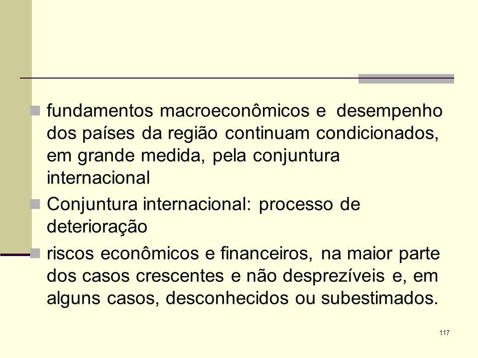 117 fundamentos macroeconômicos e desempenho dos países da região continuam condicionados, em grande medida, pela conjuntura internacional Conjuntura