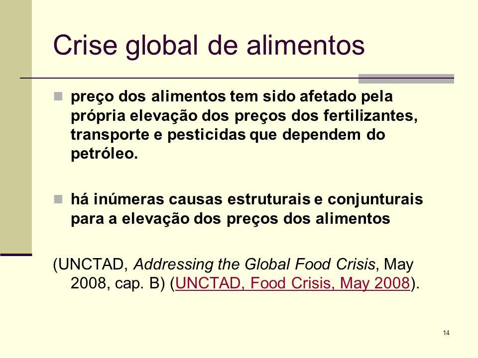 14 Crise global de alimentos preço dos alimentos tem sido afetado pela própria elevação dos preços dos fertilizantes, transporte e pesticidas que depe
