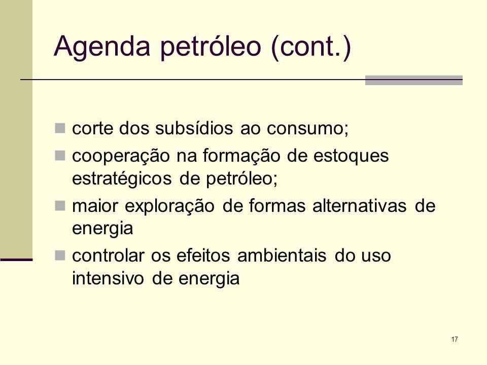 17 Agenda petróleo (cont.) corte dos subsídios ao consumo; cooperação na formação de estoques estratégicos de petróleo; maior exploração de formas alt