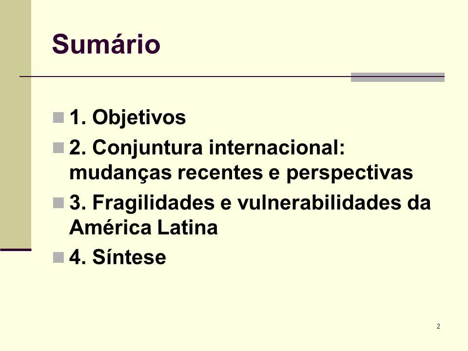2 Sumário 1. Objetivos 2. Conjuntura internacional: mudanças recentes e perspectivas 3. Fragilidades e vulnerabilidades da América Latina 4. Síntese
