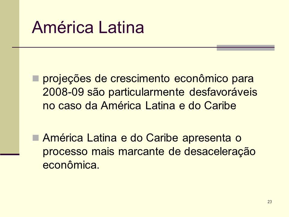 23 América Latina projeções de crescimento econômico para 2008-09 são particularmente desfavoráveis no caso da América Latina e do Caribe América Lati