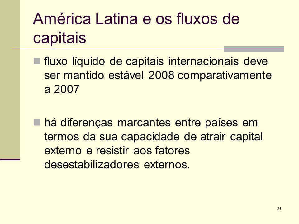 34 América Latina e os fluxos de capitais fluxo líquido de capitais internacionais deve ser mantido estável 2008 comparativamente a 2007 há diferenças