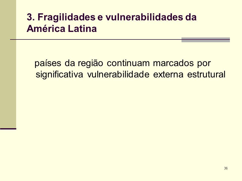 36 3. Fragilidades e vulnerabilidades da América Latina países da região continuam marcados por significativa vulnerabilidade externa estrutural