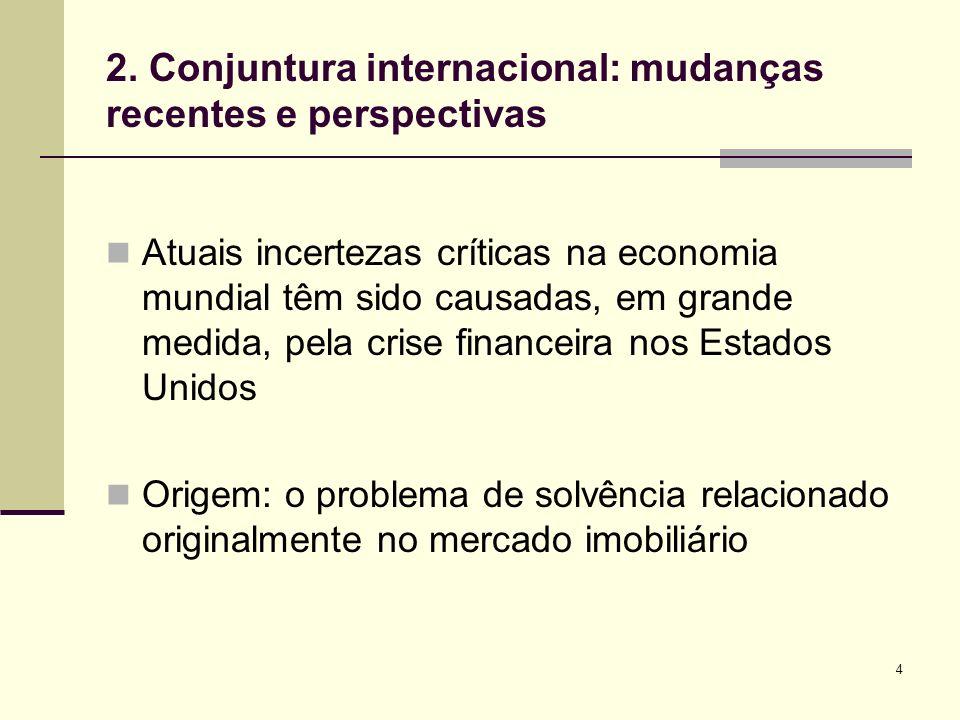 4 2. Conjuntura internacional: mudanças recentes e perspectivas Atuais incertezas críticas na economia mundial têm sido causadas, em grande medida, pe