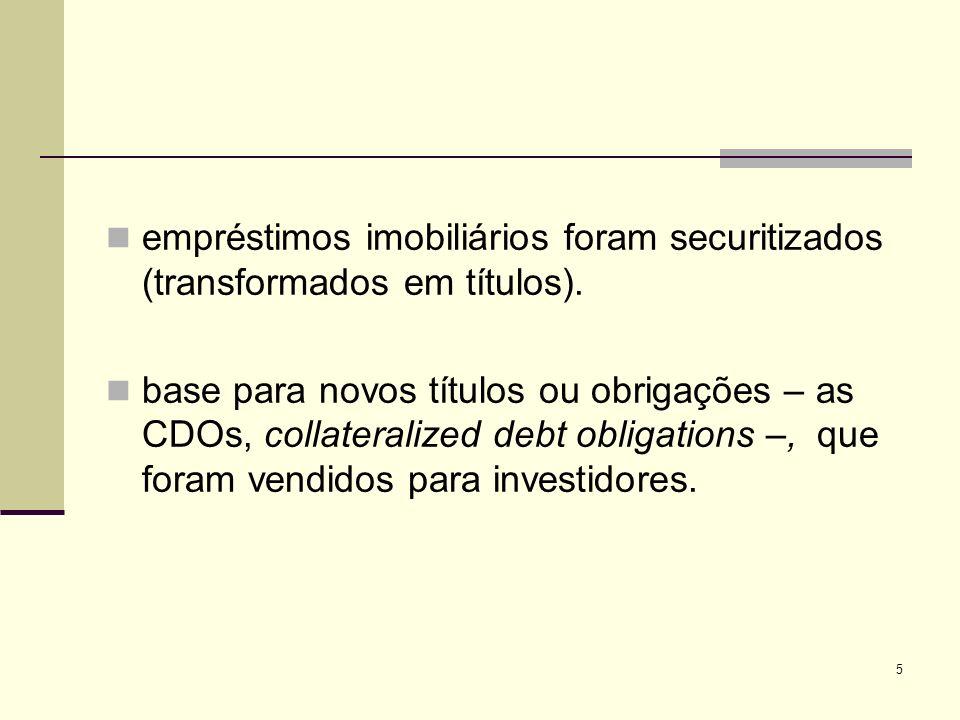 5 empréstimos imobiliários foram securitizados (transformados em títulos). base para novos títulos ou obrigações – as CDOs, collateralized debt obliga