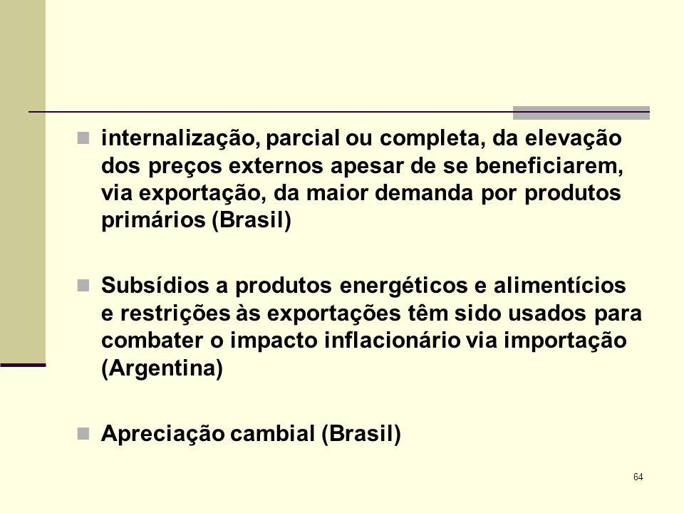 64 internalização, parcial ou completa, da elevação dos preços externos apesar de se beneficiarem, via exportação, da maior demanda por produtos primá