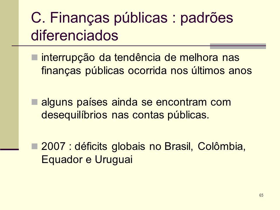 65 C. Finanças públicas : padrões diferenciados interrupção da tendência de melhora nas finanças públicas ocorrida nos últimos anos alguns países aind
