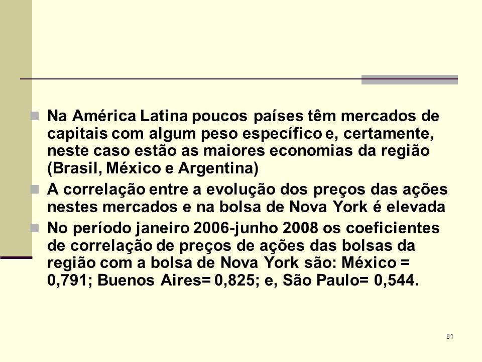 81 Na América Latina poucos países têm mercados de capitais com algum peso específico e, certamente, neste caso estão as maiores economias da região (