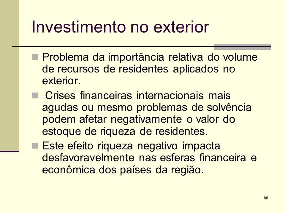 88 Investimento no exterior Problema da importância relativa do volume de recursos de residentes aplicados no exterior. Crises financeiras internacion