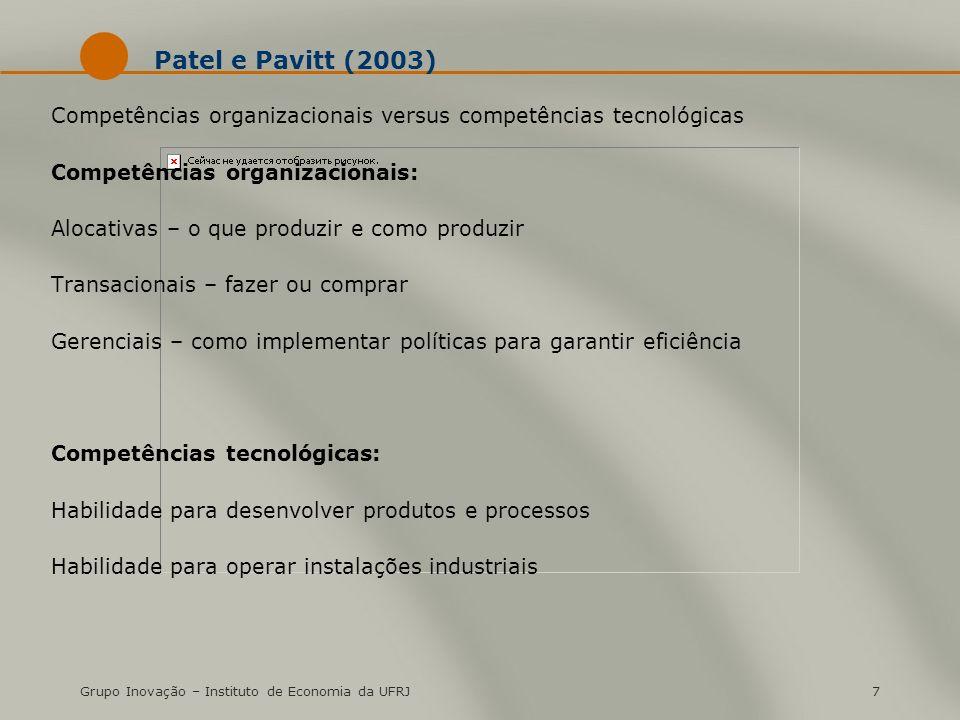 Grupo Inovação – Instituto de Economia da UFRJ7 Patel e Pavitt (2003) Competências organizacionais versus competências tecnológicas Competências organ