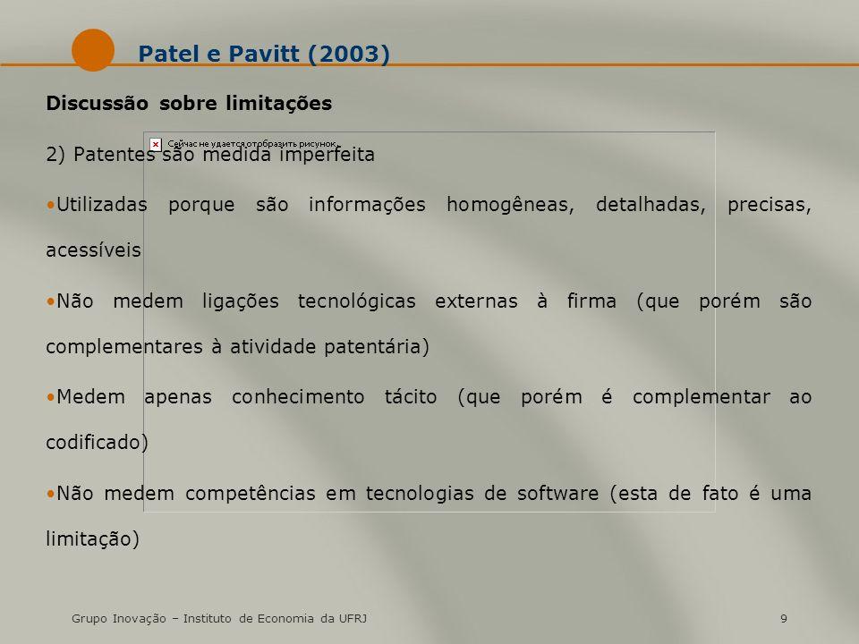 Grupo Inovação – Instituto de Economia da UFRJ9 Patel e Pavitt (2003) Discussão sobre limitações 2) Patentes são medida imperfeita Utilizadas porque s