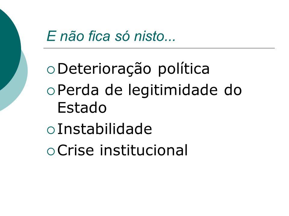 E não fica só nisto... Deterioração política Perda de legitimidade do Estado Instabilidade Crise institucional