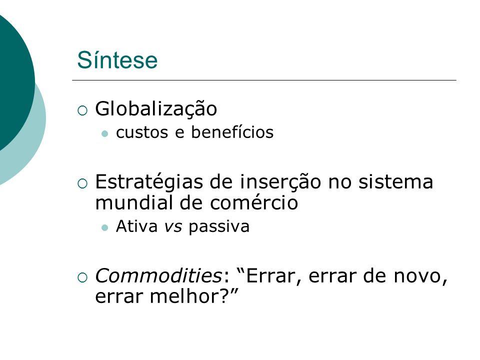 Síntese Globalização custos e benefícios Estratégias de inserção no sistema mundial de comércio Ativa vs passiva Commodities: Errar, errar de novo, er