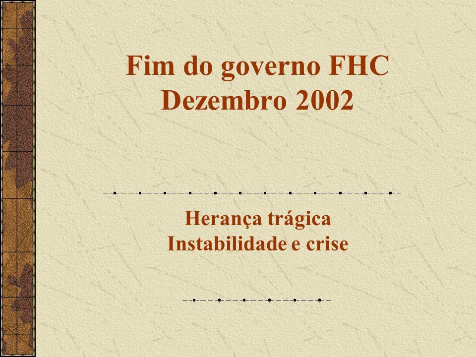 Fim do governo FHC Dezembro 2002 Herança trágica Instabilidade e crise