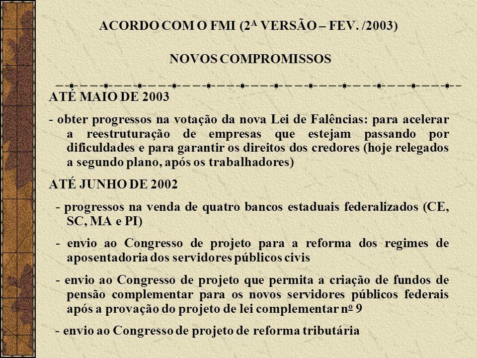 ACORDO COM O FMI (2 A VERSÃO – FEV. /2003) NOVOS COMPROMISSOS ATÉ MAIO DE 2003 - obter progressos na votação da nova Lei de Falências: para acelerar a
