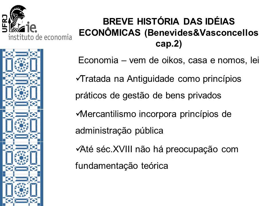 BREVE HISTÓRIA DAS IDÉIAS ECONÔMICAS (Benevides&Vasconcellos cap.2) Economia – vem de oikos, casa e nomos, lei Tratada na Antiguidade como princípios