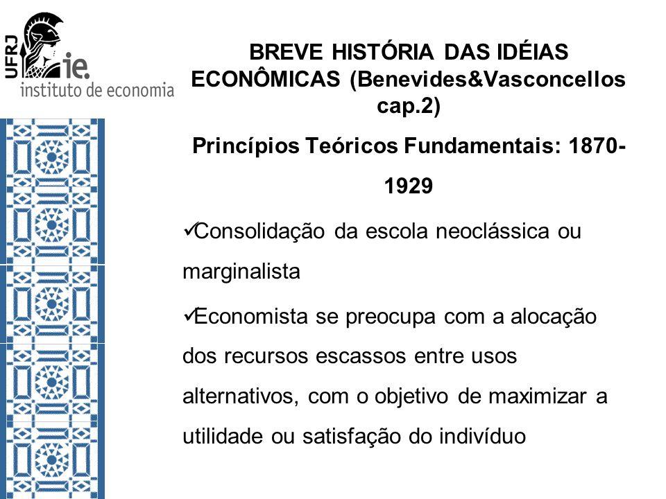 BREVE HISTÓRIA DAS IDÉIAS ECONÔMICAS (Benevides&Vasconcellos cap.2) Princípios Teóricos Fundamentais: 1870- 1929 Consolidação da escola neoclássica ou