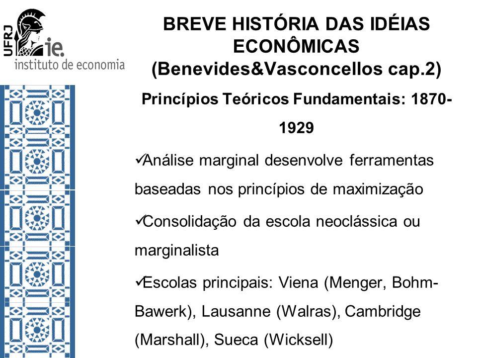 BREVE HISTÓRIA DAS IDÉIAS ECONÔMICAS (Benevides&Vasconcellos cap.2) Princípios Teóricos Fundamentais: 1870- 1929 Análise marginal desenvolve ferrament