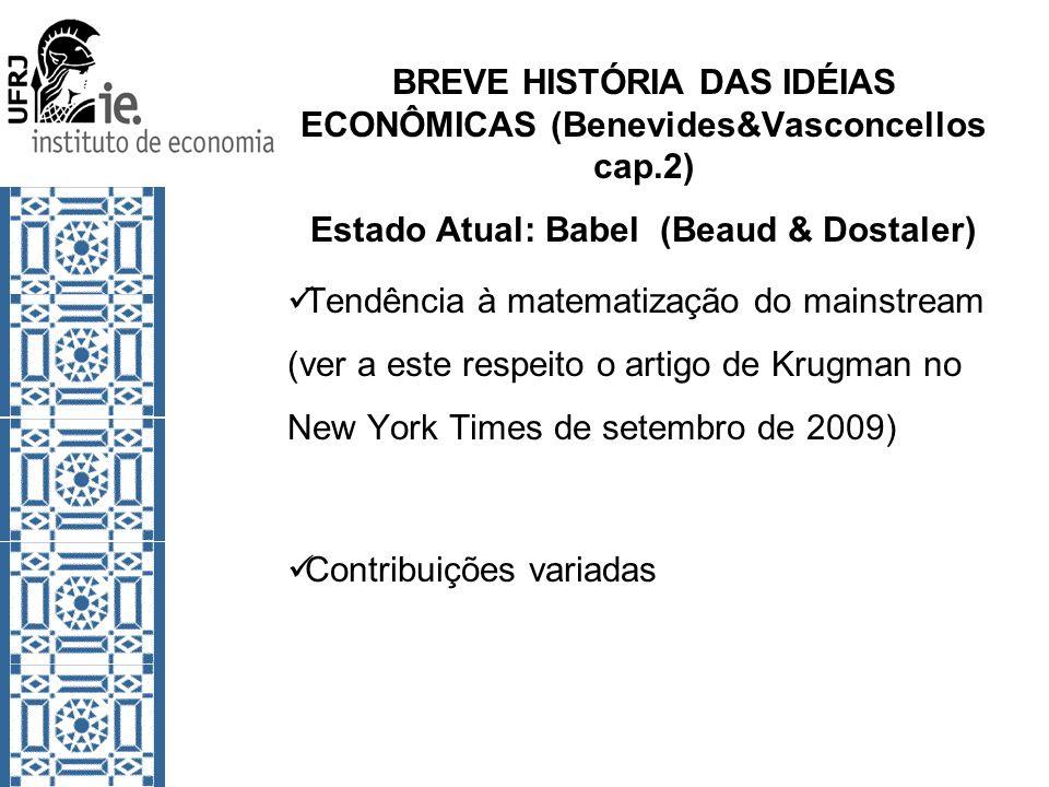 BREVE HISTÓRIA DAS IDÉIAS ECONÔMICAS (Benevides&Vasconcellos cap.2) Estado Atual: Babel (Beaud & Dostaler) Tendência à matematização do mainstream (ve