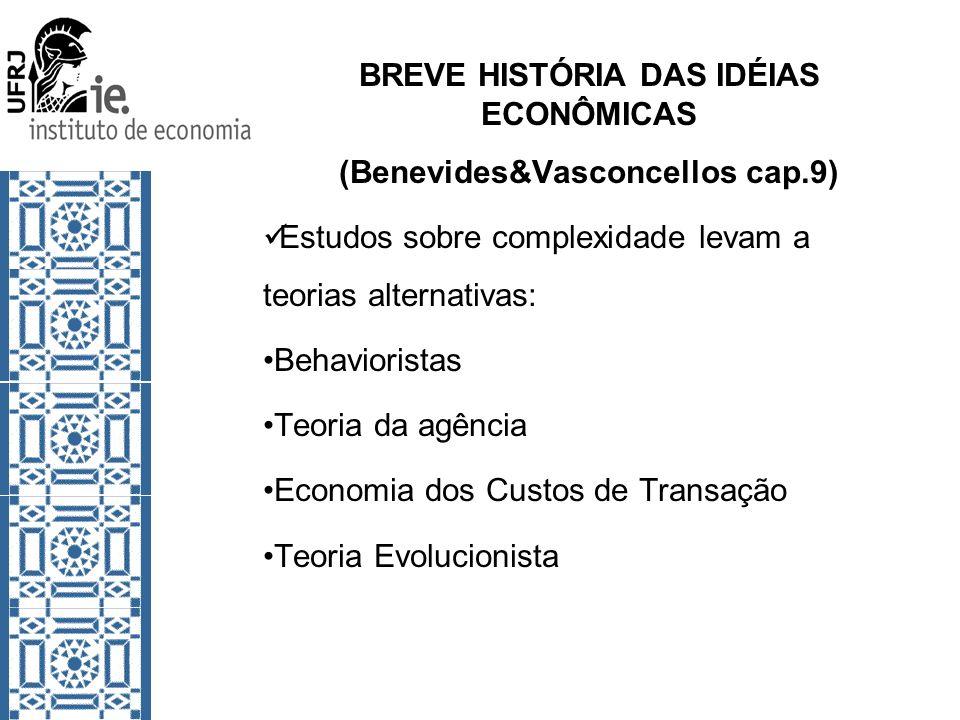 BREVE HISTÓRIA DAS IDÉIAS ECONÔMICAS (Benevides&Vasconcellos cap.9) Estudos sobre complexidade levam a teorias alternativas: Behavioristas Teoria da a